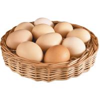 яйца куриные в плетеной тарелке на белом фоне