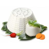 две головки сыра рикотта, овощи и зелень на белом фоне