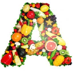 буква А с овощами и фруктами внутри