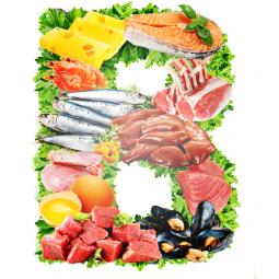 буква B с продуктами и зеленью