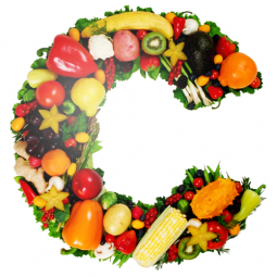 буква C с фруктами и овощами