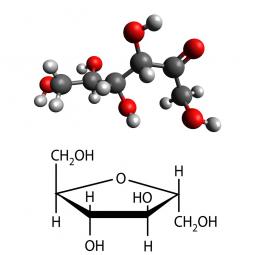 структурная и химическая формула фруктозы