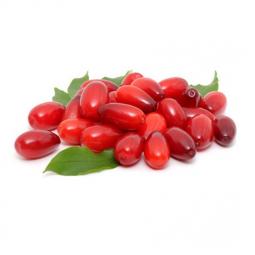 красные ягоды кизила с зелеными листиками