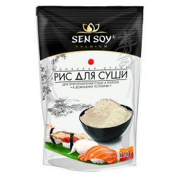 упаковка риса для суши на белом фоне