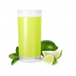фото сока лайма в стакане, дольки лайма