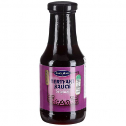 фото бутылочки с соусом Терияки на белом фоне