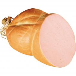 вареная колбаса на белом фоне