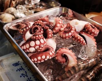 свежий осьминог с креветками