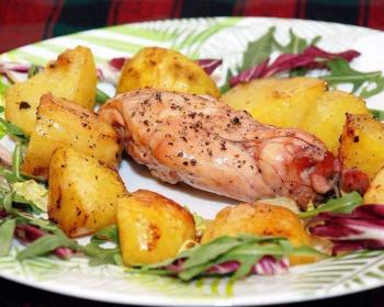 кролик в духовке с картошкой