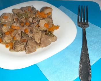 гуляш из лосятины с луком и морковью в белой тарелке