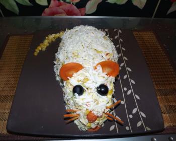 крабовый салат в виде крысы