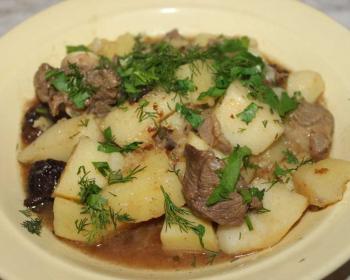 баранина с картошкой и зеленью