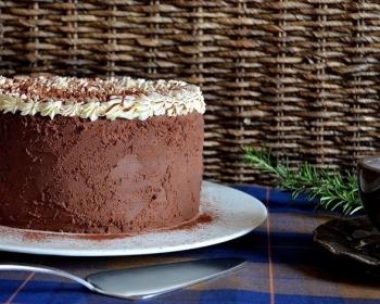 шоколадный бисквитный тирамису, украшенный кремом, на белой плоской тарелке на столе, застеленном скатертью, рядом лопатка и чашка