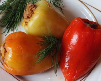 три фаршированных перца желтого, оранжевого и красного цвета лежат на белой тарелке, украшенные свежими веточками укропа