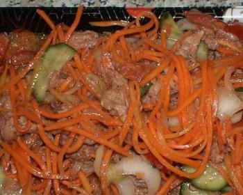 хе из щуки с огурцами, луком, морковью по-корейски