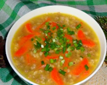 приготовленный в мультиварке холодец из курицы, сверху украшенный дольками моркови и измельченным зеленым луком