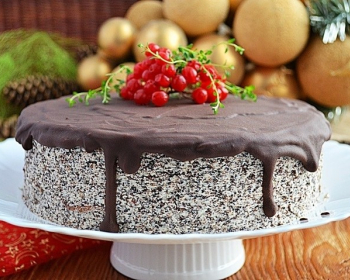 маковый торт, политый шоколадной глазурью и украшенный красными ягодками, на белой тарелке на столе