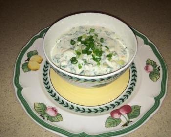 окрошка на молоке с зеленым луком в тарелке на блюдце на столе