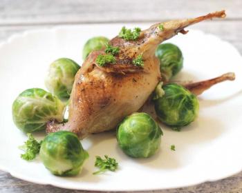 на белой тарелке лежит целый перепел, запеченный в рукаве в духовке, вокруг птицы лежит брюсельская капуста, сверху на тушке свежая зелень