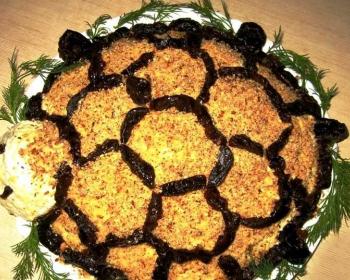 салат в виде черепахи