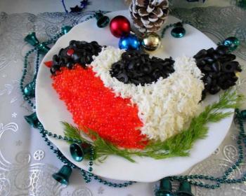 салат в виде снегиря