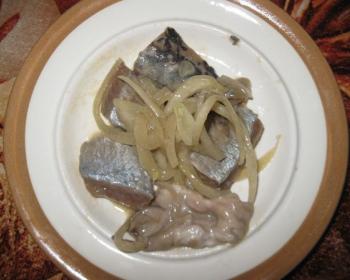кусочки селедки в горчичном соусе с кольцами репчатого лука на белой тарелке на столе