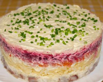 на белой тарелке лежит слоеный салат селедка под шубой без яиц, круглой формы, сверху присыпанный измельченным зеленым луком