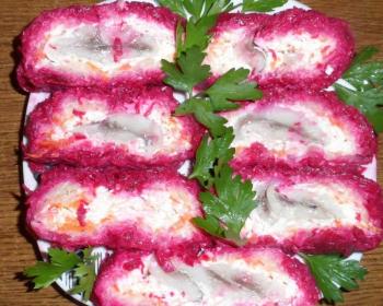 селедка под шубой с сыром в виде рулета нарезанная порционно и украшенная свежими листочками петрушки