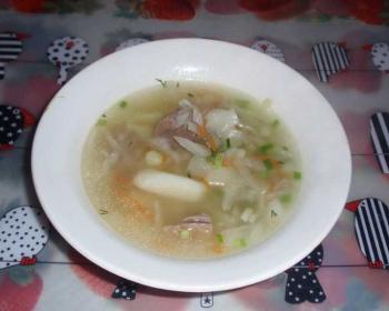 щи из гуся с капустой, картофелем, морковью и репчатым луком, присыпанные зеленью, в белой тарелке на столе