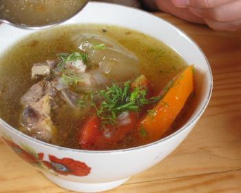 суп с кусочками баранины, моркови, помидоров и рубленым укропом в белой тарелке на столе