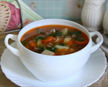 белая супница с супом из кильки в томатном соусе на тарелке