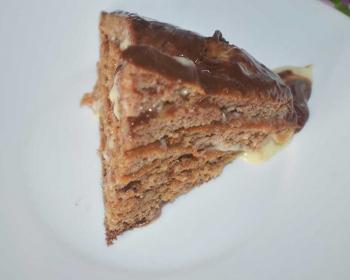 треугольный кусочек торта Черепаха на белой тарелке