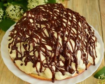 торт кучерявый мальчик с кремом, политый шоколадом