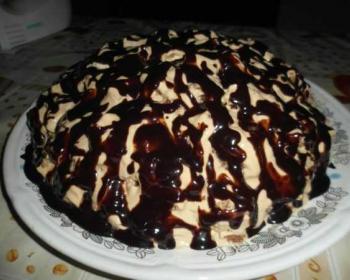 на большом блюде лежит торт пинчер, политый сметанным кремом и шоколадной глазурью