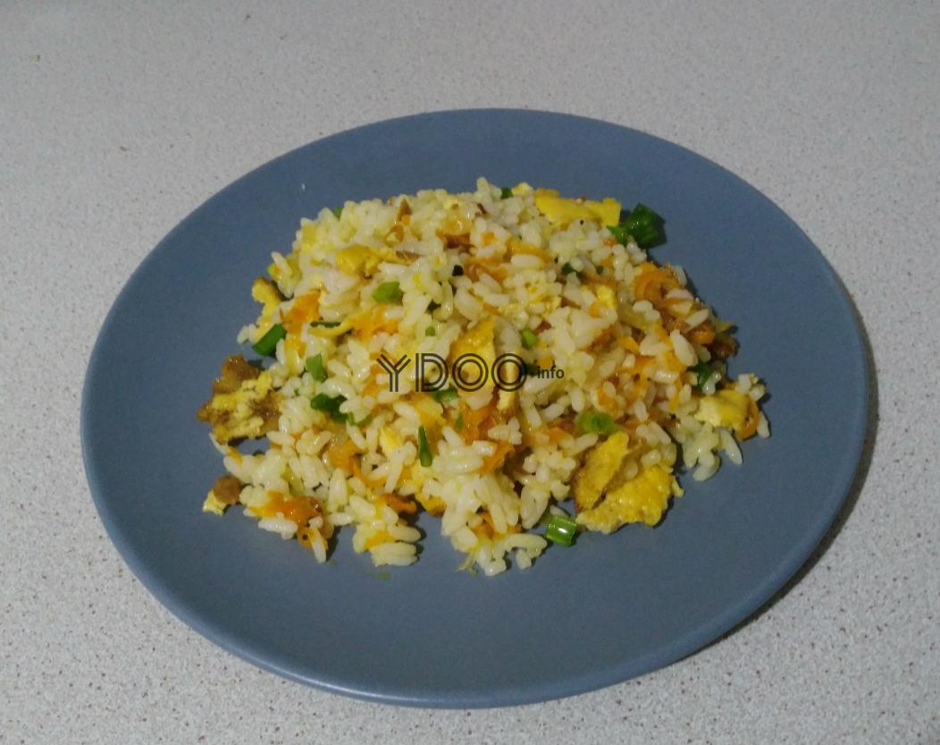 тарелка с жареным рисом с яйцом, овощами и зеленым луком