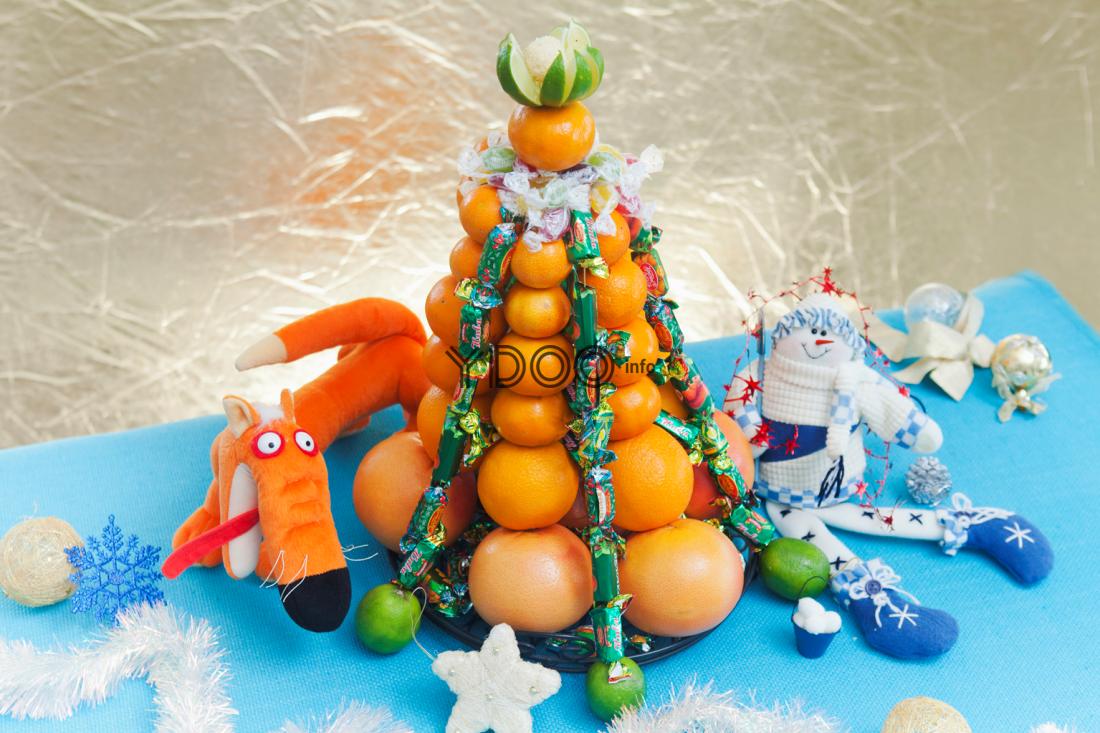 елка из мандаринов и других цитрусов, украшенная конфетами, лаймом, рядом лежат мягкие игрушки, белый дождик и елочные шарики