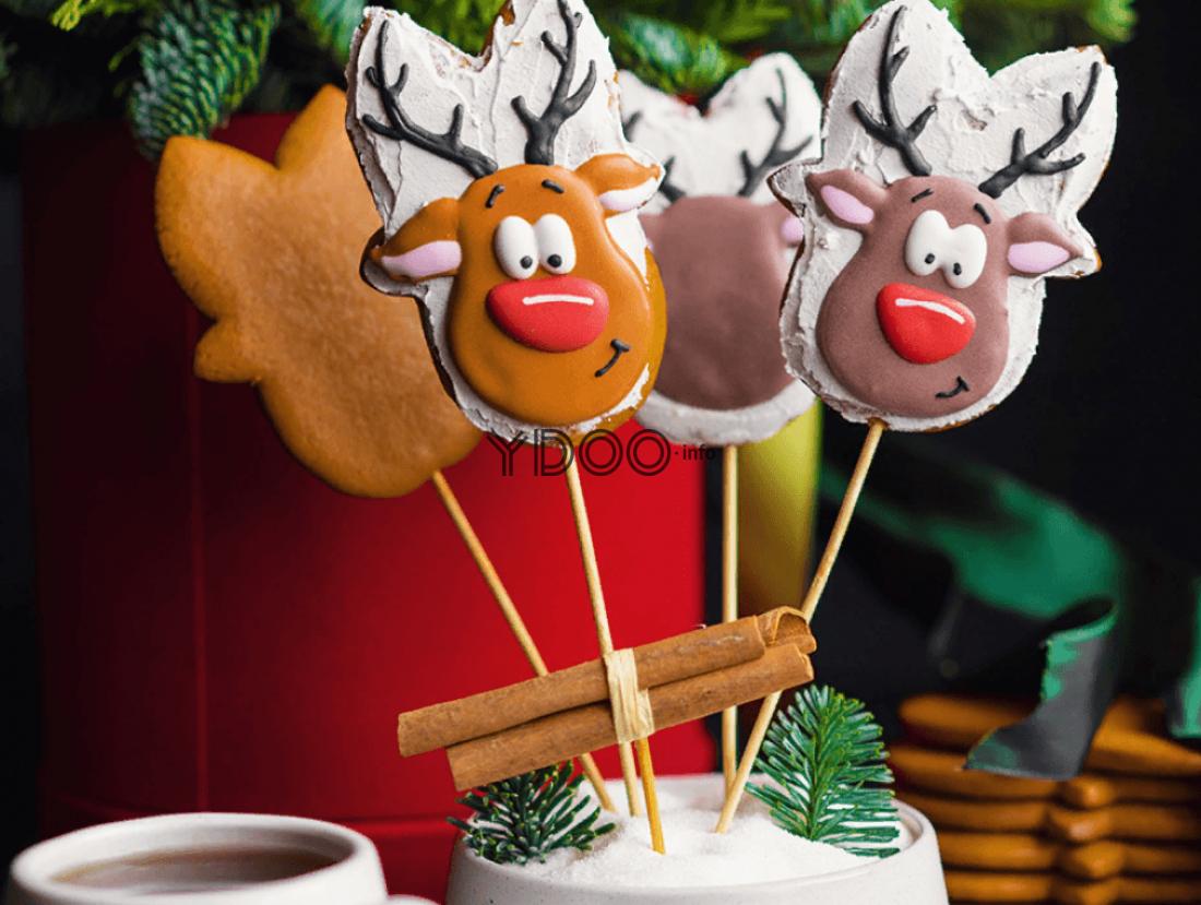 пряники домашние новогодние в виде оленей на шпажках, на одной шпажке прикреплены палочки корицы, в емкости со шпажками торчат две маленькие веточки елки