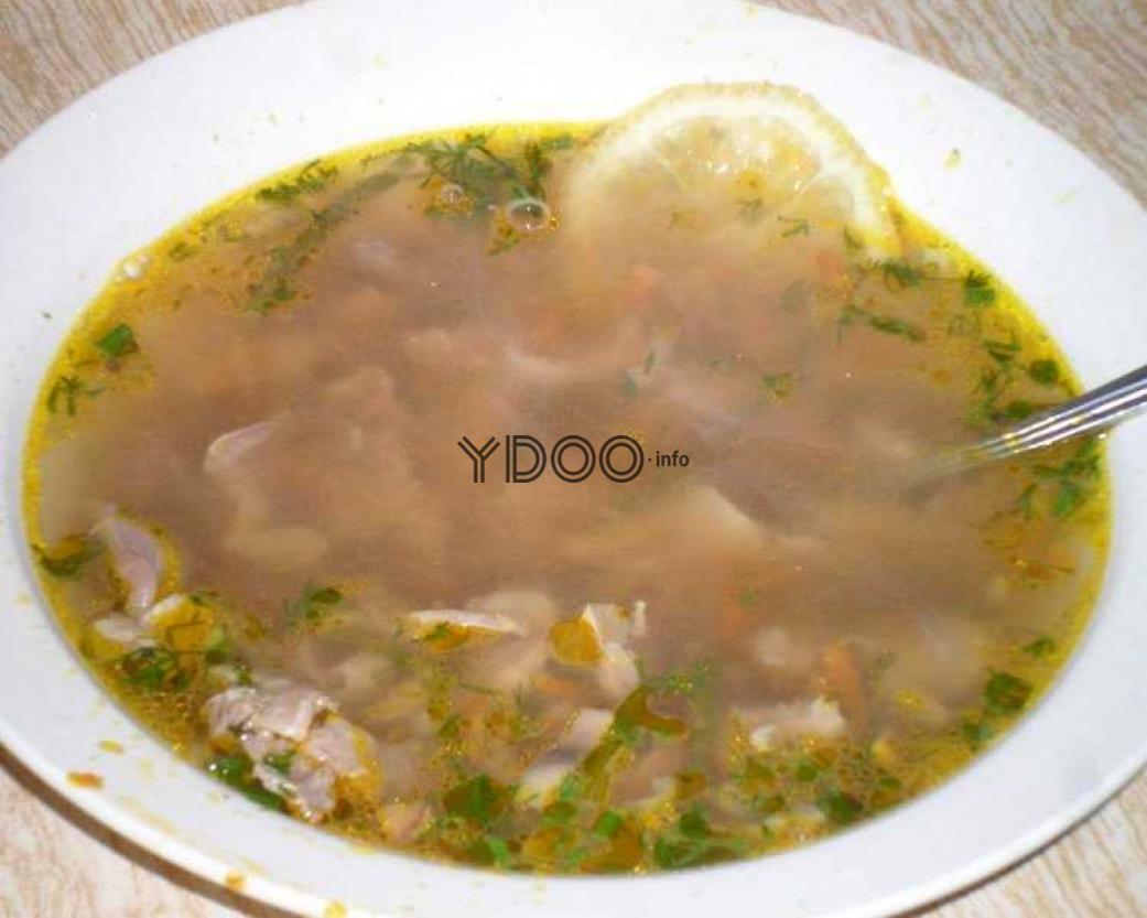 суп из куриных желудков в тарелке с ломтиком лимона